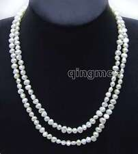 """Fashion Long 40"""" White 6-7mm Baroque Natural freshwater pearl necklace-nec6115"""