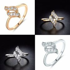 Sz 5-9 Fashion White Simulated Diamond Rings Jewelry 18K Gold/White Gold Filled