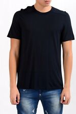 Rick Owens Men's Crewneck Silk Navy Blue Short Sleeve T-Shirt Size S L