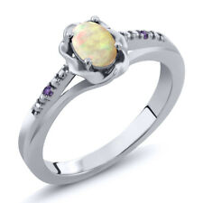 0.33 Ct Oval Cabochon White Ethiopian Opal Purple Amethyst 18K White Gold Ring
