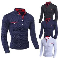 Fashion New Mens Long Sleeve Shirt Casual Polka Dot Stylish Dress Shirts Tops