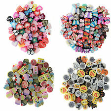 COOL 10pcs Mixed Styles Fimo Polymer Clay Cane Nail Stickers DIY Nail Art Decal
