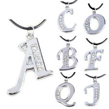 1 Pcs Women Pendant Initial Crystal Necklace Letter Fashion A-Z Jewelry Silver