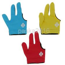 Lycra 3 Finger Right Hand Snooker Billiard Table Cue Pool Glove Blue Yellow Red