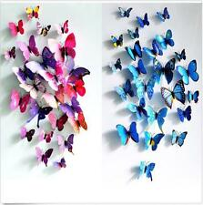 DIY 3D Butterfly Wall Stickers Art Design Decal Room Decor Home Decoration 12pcs