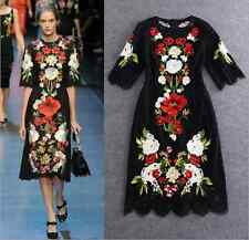 J occident runway Embroidery black lace women dress half sleeves free shipping