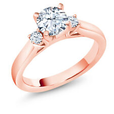 1.42 Ct Hearts And Arrows White Created Sapphire 18K Rose Gold 3-Stone Ring