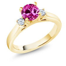 1.22 Ct Round Pink Created Sapphire 18K Yellow Gold Plated Silver 3-Stone Ring