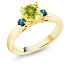1.20 Ct Round Canary Mystic Topaz Blue Diamond 14K Yellow Gold 3-Stone Ring