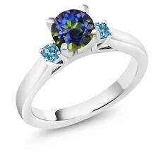 1.30 Ct Blue Mystic Topaz Swiss Blue Topaz 925 Sterling Silver 3-Stone Ring