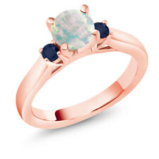 0.56 Ct Cabochon White Simulated Opal Blue Sapphire 18K Rose Gold 3-Stone Ring