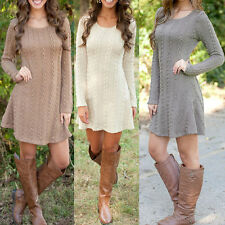 Stylish Women Long Sleeve A-line Cable Knitted Jumper Tunic Sweater Dress S-XXL