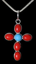 RED JASPER & TURQUOISE GEMSTONE STUDDED PENDANT IN.925 STERLING SILVER-SP1618