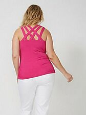 Lane Bryant PINK Criss Cross Tank 22/24 26/28 Sleeveless Top Cami $50 Brand NWT