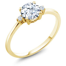 1.23 Ct Round Hearts And Arrows White Created Sapphire 10K Yellow Gold Ring