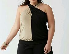 Lane Bryant Colorblock Banded Bottom Halter Top Black Taupe Plus Size 22/24 3X