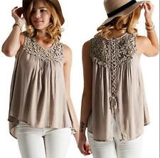 Casual Chiffon Women Plus Size Shirts Blouses Solid Style Sleeveless