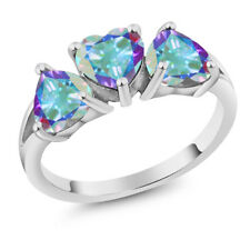 2.85 Ct Heart Shape Mercury Mist Mystic Topaz 18K White Gold 3-Stone Ring