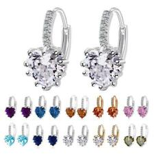 Shiny Rhinestone Crystal Heart Shape Drop Dangle Studs Earrings Elegant Jewelry