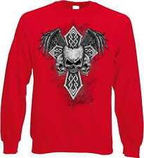Sweatshirt in red with Tattoo Gothic & Biker motif Model Skulls Wings Cros