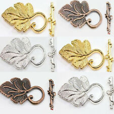 2 Sets Golden/Silver Plated Copper Leaf Toggle Clasp Connector Jewelry Findings