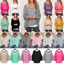 Womens Oversized Pullover Loose Sweater Casual Batwing Sleeve Jumper Tops Blouse