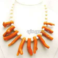 """Big 8*70mm Pink Branch shape Coral & 7-9mm White Baroque Pearl 18"""" Necklace-6163"""
