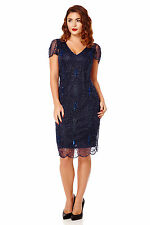 Downton Abbey 20s Inspired Flapper Dress with Sleeves Navy Blue Plus Size