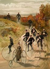 "Penny Farthing Art Print, 1887 High Wheel Bicycle Art Print 4"" x 6"" - 16"" x 20"""