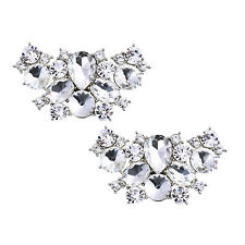 Silver BF 2 Pcs Shoe Clips Butterfly Rhinestone Wedding Evening Party Decoration