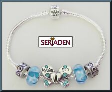 Mother Son Serjaden Charm Bracelet w/ Aqua Blue Glass Beads Butterfly Locks #019