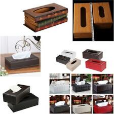 1Pcs Wooden PU Leather Tissue Paper Box Case Cover Napkin Holder Home Car Office