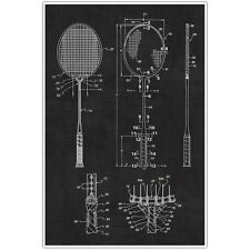 Badminton Patent Blueprint Poster, Racket Photo Art