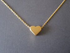 Dainty Mini Love Heart Princess Necklace Choker Chain Silver or Gold Plated
