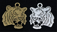 3/10/50pcs Tibetan Silver two-sided Tiger head Jewelry Charms Pendant 27x24mm