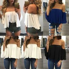 Casual Women Blouse Off Shoulder Short Sleeve Shirt Summer Tops Tee Party Y4P5