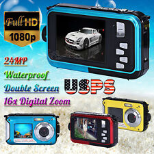 1080P HD Double Screen Waterproof 24MP Camera DV Sports Video Camcorder Dive US