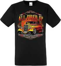 T Shirt in black with Hot Rod US Car &`50 Style Emotiv Model All Fired Up