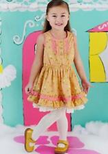 NWT Matilda Jane Size 6 8 Happy & Free DELECTABLE GOODIES Gold Pink Floral Dress