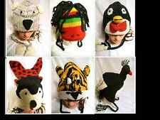 New Handmade Knit 100% Wool Unisex Animal Winter Nepal Hat Ladybug Turkey Monkey