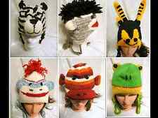 New Handmade Knit 100% Wool Unisex Animal Winter Nepal Hat Sockmonkey Tiger Bee!