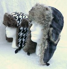 New Unisex Aviator Winter Hat Trapper Earflap Houndstooth Plaid Bomber Snow Ski