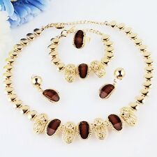Gold Plated Jewelry Set 18k Austrian Crystals Necklace Bracelet Earrings Ring