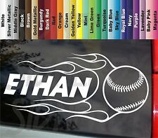 "Baseball Softball Personalized Name Flaming Ball Cool 8.5"" VINYL STICKER DECAL"