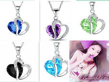 925 Sterling Silver Amethyst Crystal Heart Pendant Necklace Chain Love GF BOX22
