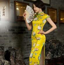 Silk Cheongsam QiPao Long Dress Chinese Women's Slim Evening Party Dress Yellow