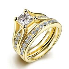 Crystal Rhinestone Wedding Couple Lover Finger Ring Gold Plated Gift US 6 7 8 9