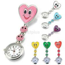 Portable Novelty Heart Shape Cute Smile Face Nurse Quartz Pocket Watch Clip-on