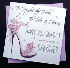 Handmade Sparkly Butterfly Shoe Birthday Card Any Age Female Relative Friend
