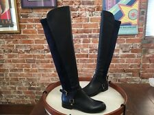 Franco Sarto Mast Navy Blue Leather Buckle OTK Over the Knee Boots NEW